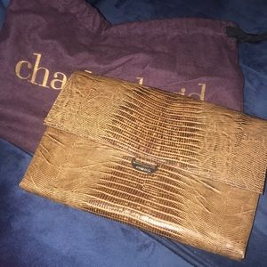 Charles David brown leather clutch